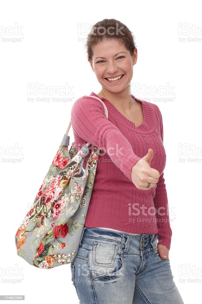 Young woman showing thumb up royalty-free stock photo