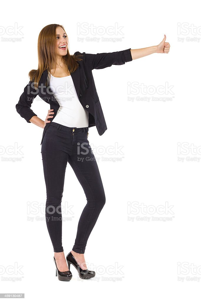 Young woman showing thumb up. royalty-free stock photo