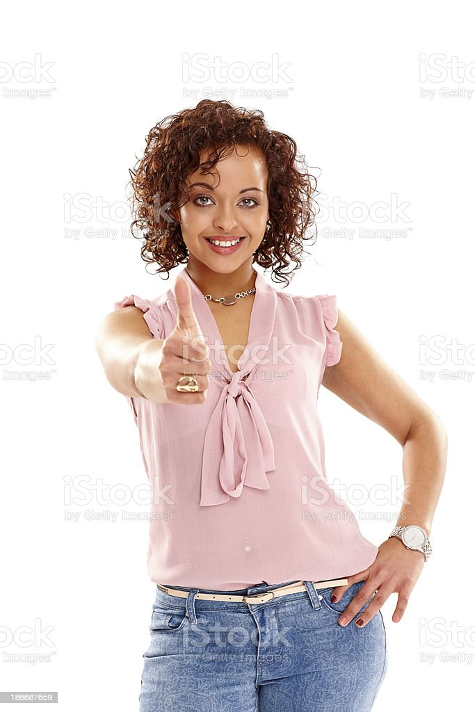 Young woman showing you thumbs up sign royalty-free stock photo