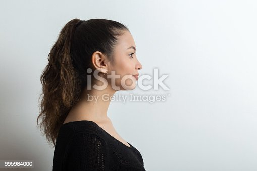 Young woman side view