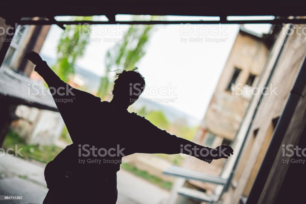 Young woman silhouette royalty-free stock photo