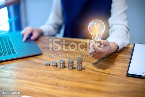Young woman sit near the computer laptop her hand hold the glass bulb near the group of step coin.