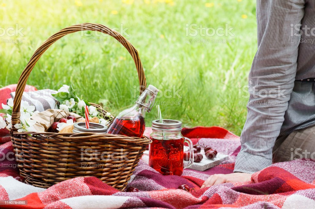 Young woman sitting on red blanket next to picnic basket with food....