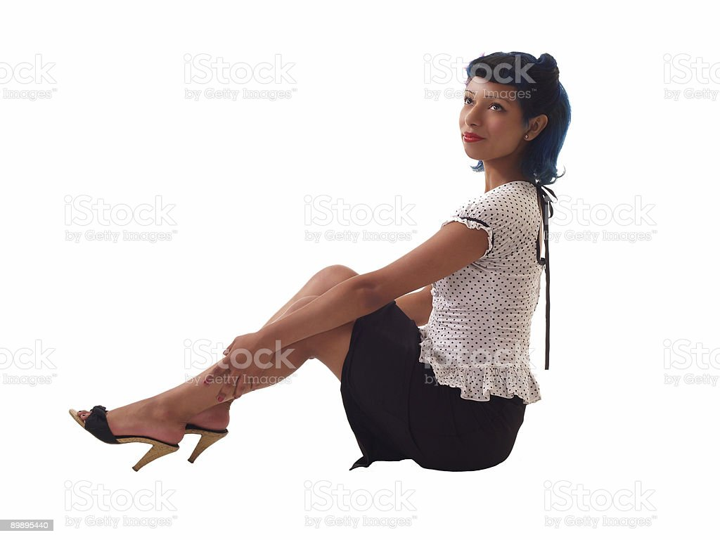 Young Woman sitting on floor royalty-free stock photo