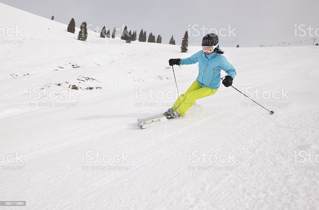 Young woman skier stock photo
