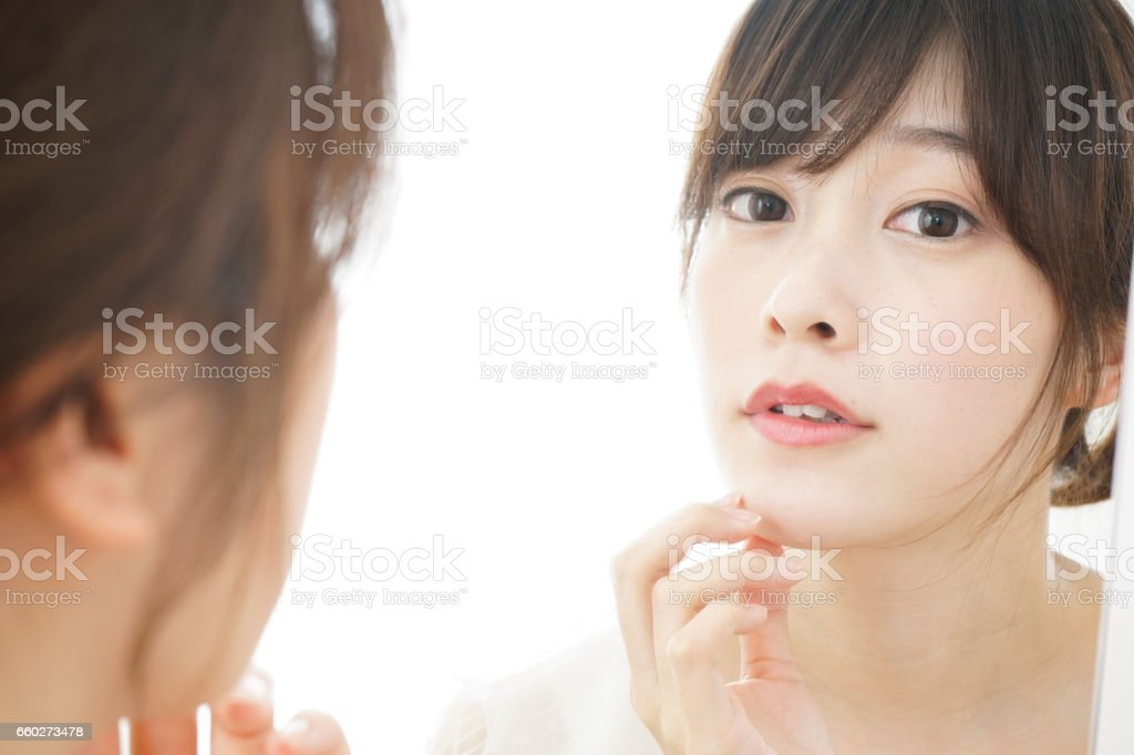 Young woman skin care stock photo