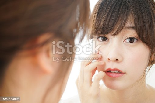 istock Young woman skin care 660273594