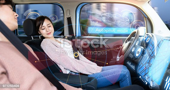 istock Young woman sleeping in autonomous car. 971253404