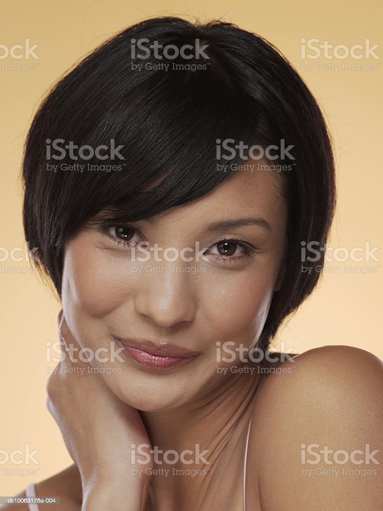 Young woman smiling, portrait, close-up royalty-free 스톡 사진