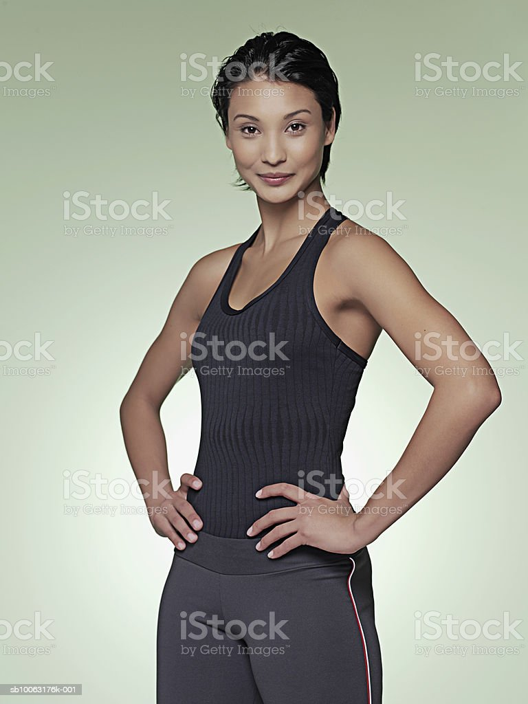 Young woman smiling, portrait foto de stock royalty-free
