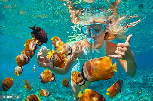 istock Young woman snorkeling with coral reef fishes 821821208