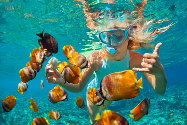 Young woman snorkeling with coral reef fishes Happy family - girl in snorkeling mask dive underwater with tropical fishes in coral reef sea pool. Travel lifestyle, water sport outdoor adventure, swimming lessons on summer beach holiday with kids snorkel stock pictures, royalty-free photos & images