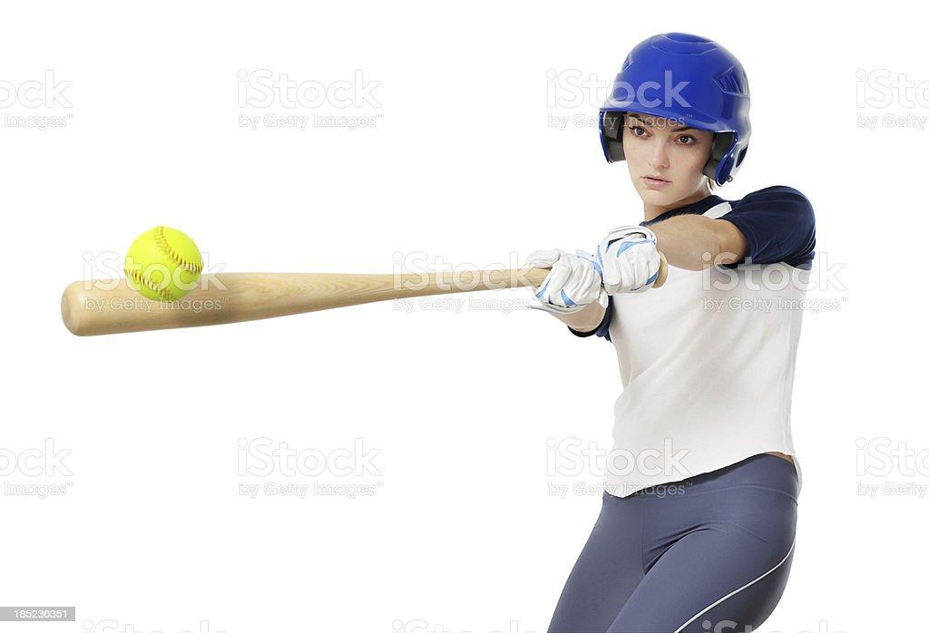 ソフトボール若い女性野球選手白背景 ストックフォト