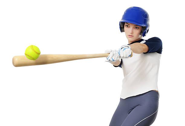 ソフトボール若い女性野球選手白背景 - ソフトボール ストックフォトと画像