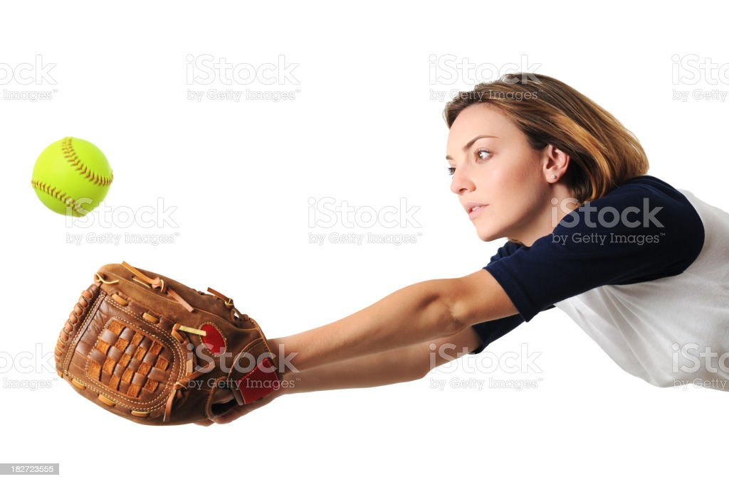 Young Woman Softball Player Isolated on White Background royalty-free stock photo
