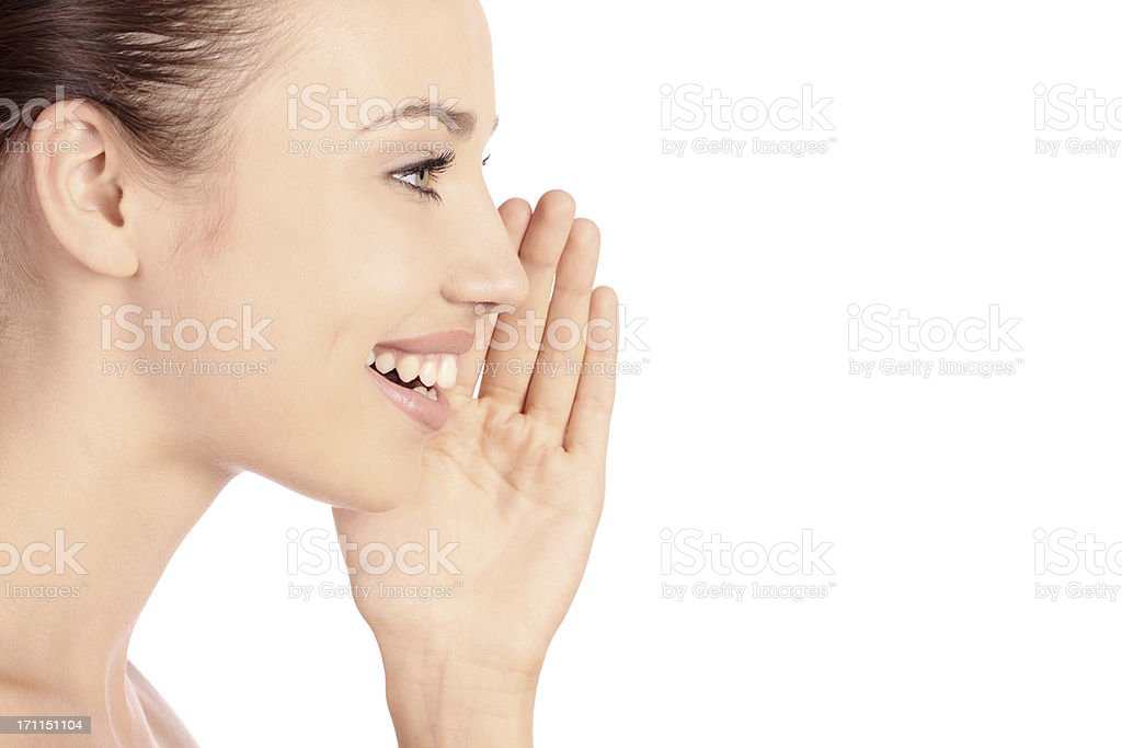 young woman speaking royalty-free stock photo