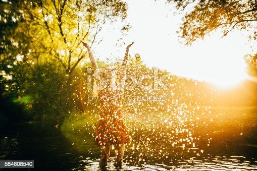 700603062istockphoto Young woman splashing 584608540