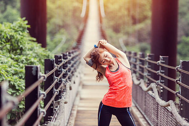 young woman sports training at the rope bridge - young singles stock photos and pictures