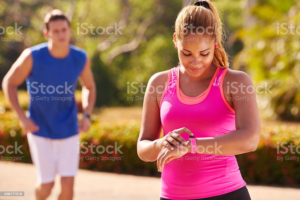 Young Woman Sports Training Fitness Fitwatch Steps Counter stock photo