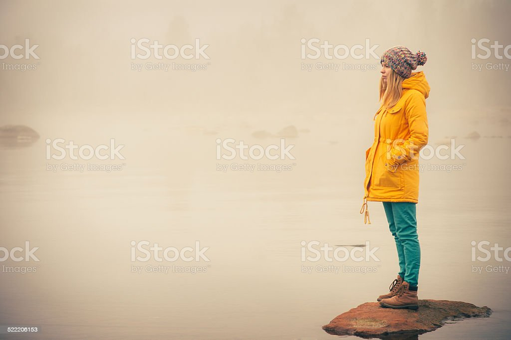 Young Woman standing alone outdoor Travel Lifestyle royalty-free stock photo