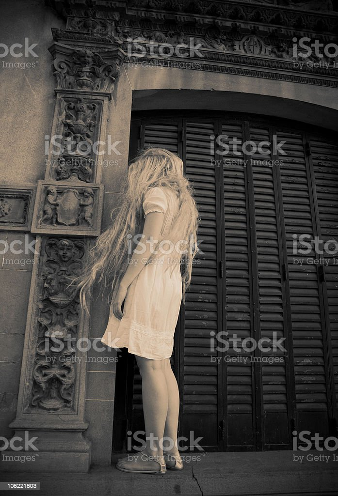 Standing In The Corner : Young woman standing in corner stock photo more pictures