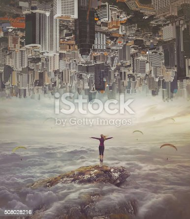 istock Young woman   standing on a rock with divorced hands 508028216