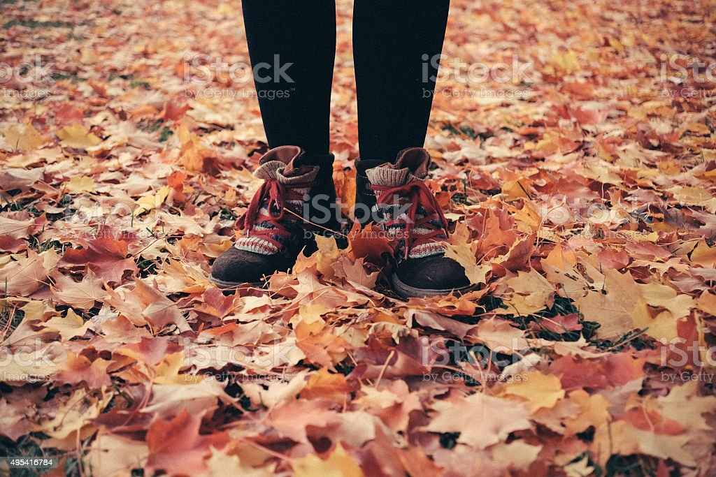 Young woman standing on yellow autumn leaves stock photo