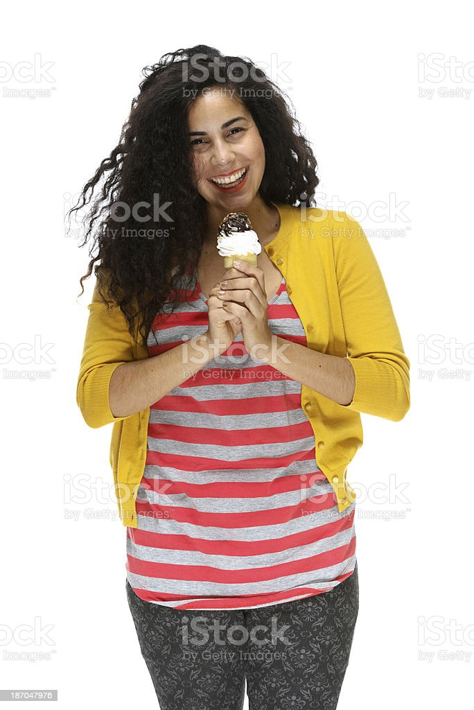 Young woman standing with ice cream royalty-free stock photo