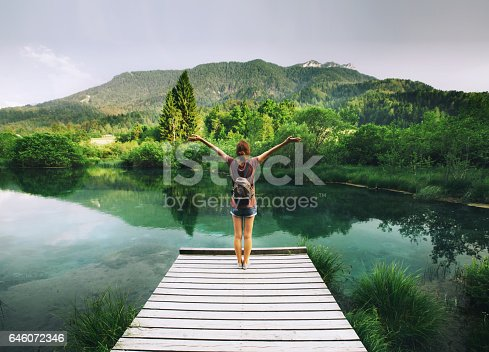 istock Young woman stands on a wooden bridge with raised arms up on the nature background. 646072346