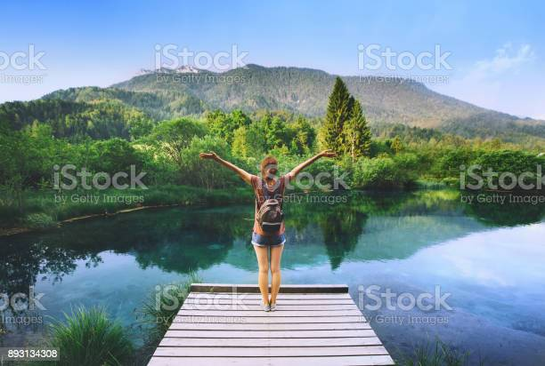 Young woman stands on a wooden bridge with raised arms up on the picture id893134308?b=1&k=6&m=893134308&s=612x612&h=fno8ll9zmfcdkayj5crkukfveeowjkcb50pppmnvrgi=