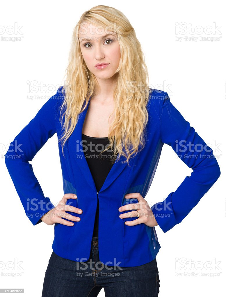 Young Woman Staring At Camera, Hands On Hips royalty-free stock photo