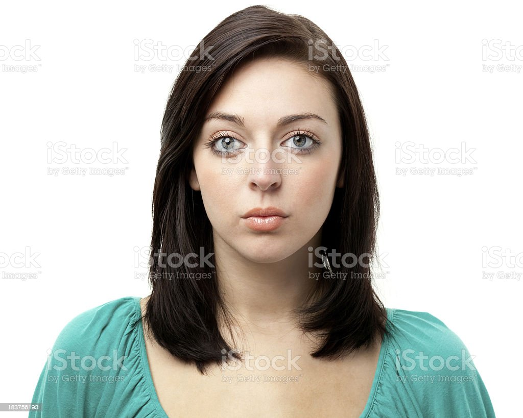 Young Woman Staring At Camera With Blank Expression royalty-free stock photo
