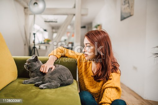 537697440istockphoto Young woman stroking cat 1128000581