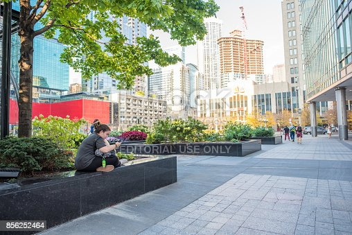 Chicago, IL, Sept. 21, 2017: A student takes a moment to study on her phone outside in the park near Tribune Plaza, downtown Chicago. Chicago's downtown offers so many colleges, it is called 'Loop U'.