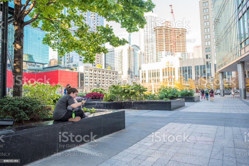Young woman student downtown Chicago stock photo