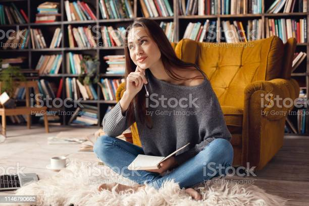 Young woman student in library at home sitting looking up dreaming picture id1146790662?b=1&k=6&m=1146790662&s=612x612&h=1tom6wv961eamoeu15 3okniv0jto3kz1j1ikqnwgwg=