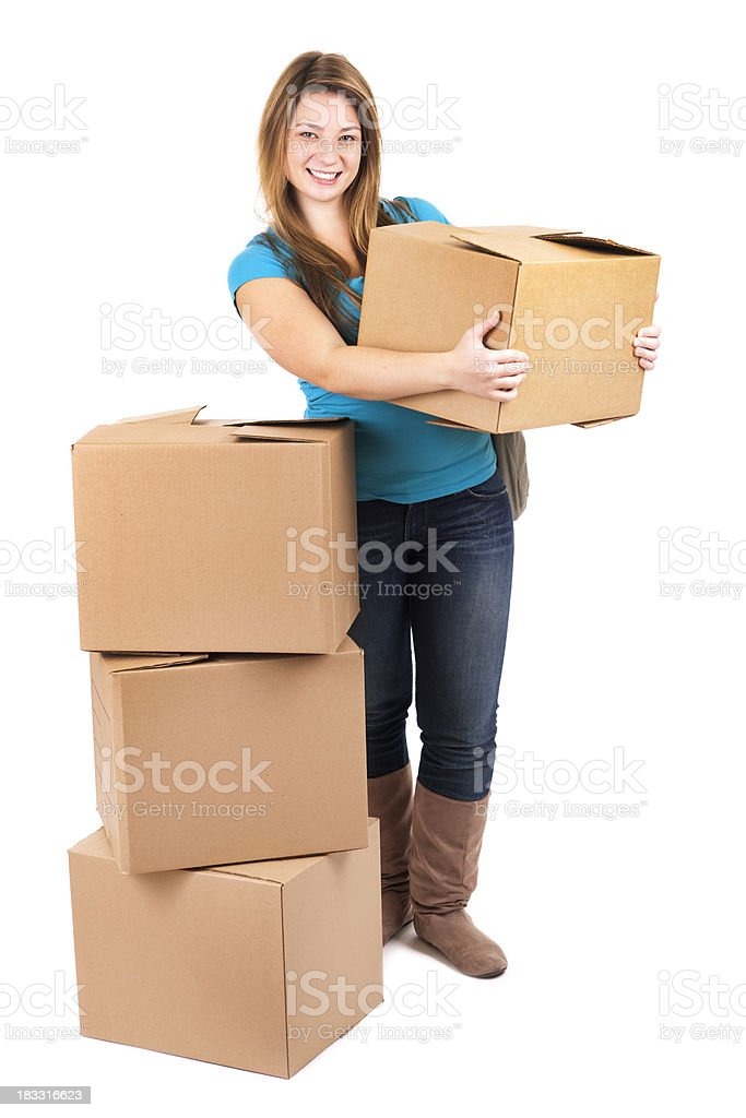 Young Woman Student Moving, Working, Lifting Cardboard Boxes, White Background royalty-free stock photo