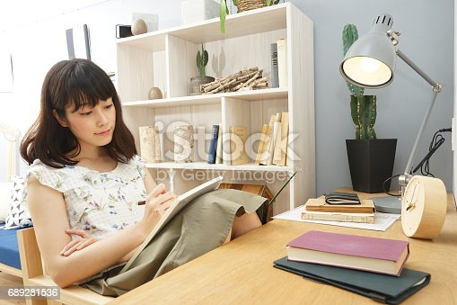 istock Young woman studying at home 689281536