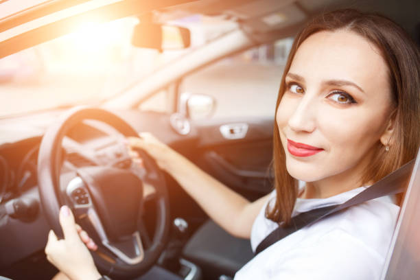 Young woman studying driving car in school Young woman studying driving car in school. Happy hispanic girl steering wheel sergionicr stock pictures, royalty-free photos & images