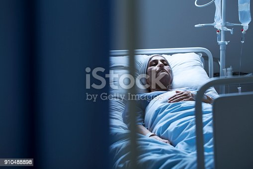 928968772 istock photo Young woman suffering from cancer 910488898