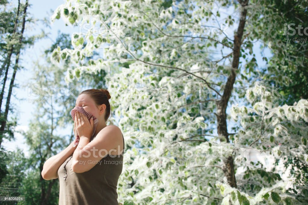Young woman suffering spring pollen allergy. Poplar Bloom season stock photo