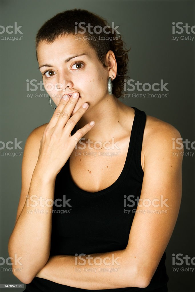 Young woman surprised stock photo