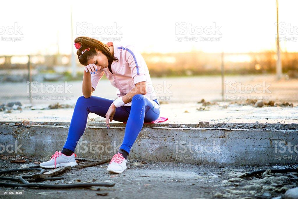 Young woman taking a break stock photo