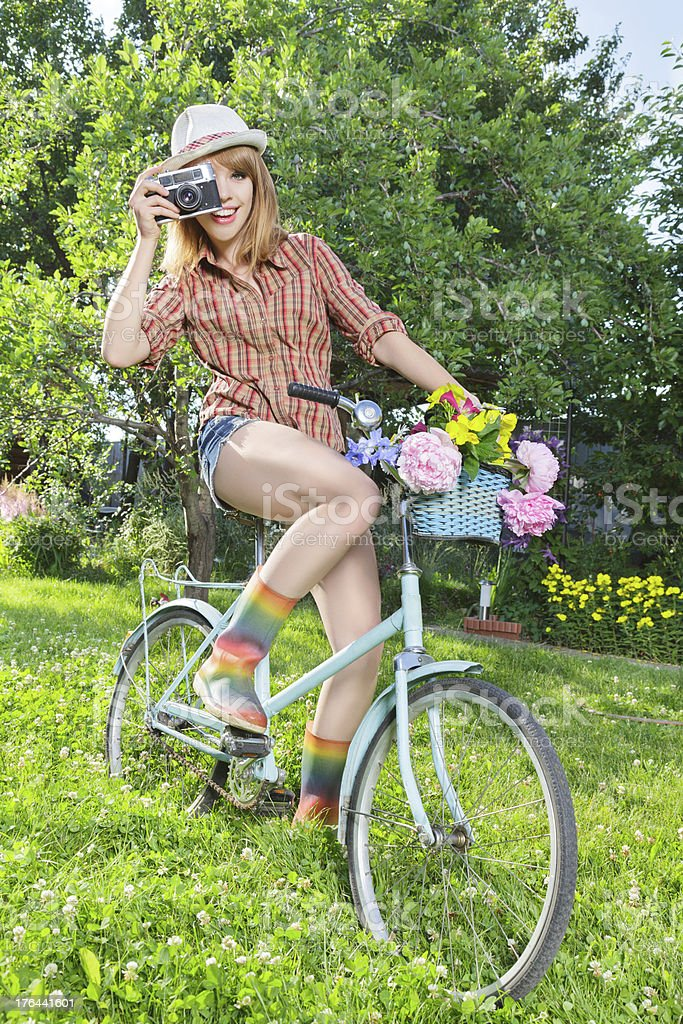 Young woman taking photos royalty-free stock photo