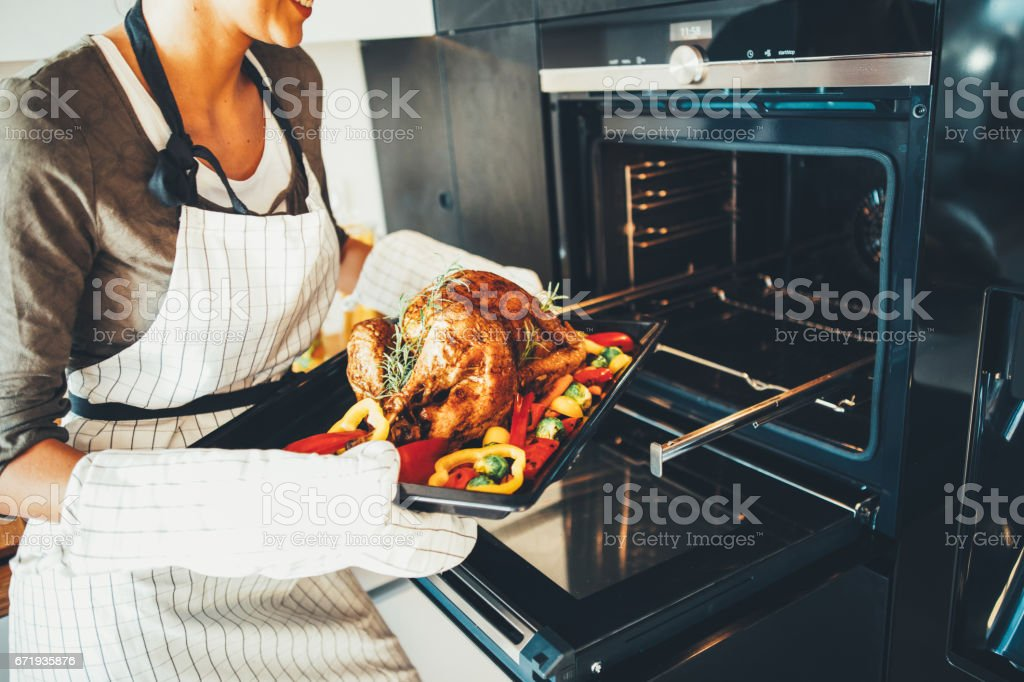 Young woman taking the dinner out of the oven stock photo