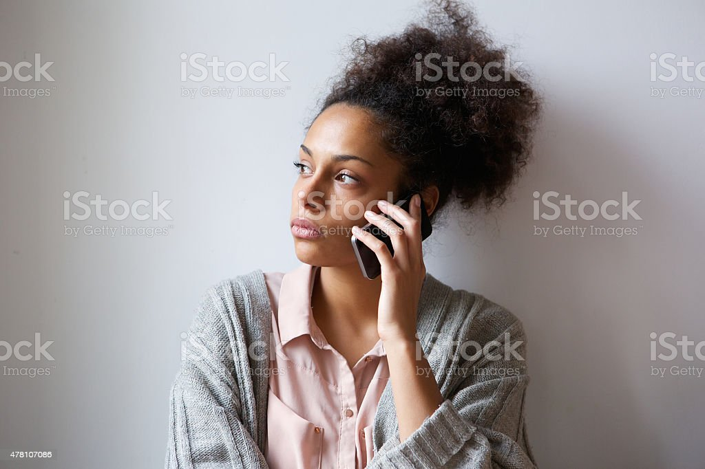 Young woman talking on mobile phone stock photo
