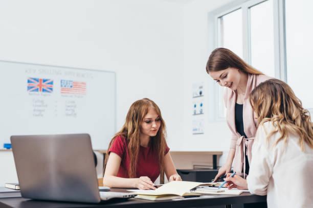 Junge Frau Englischunterricht für Erwachsene Studenten an der Sprachschule. – Foto