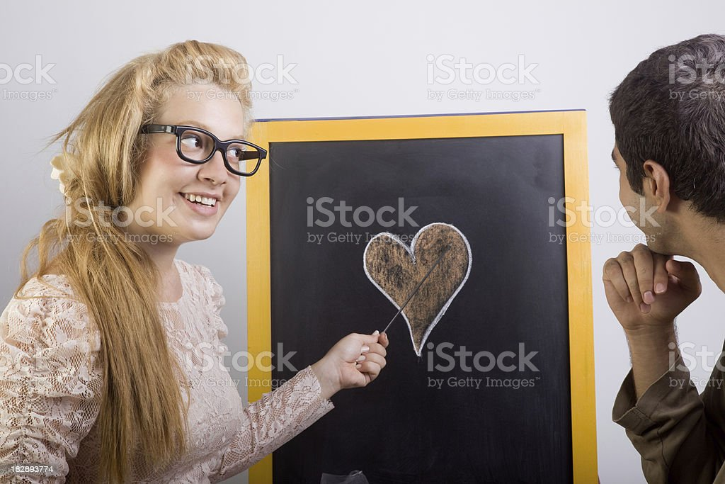 Young woman teaching love stock photo