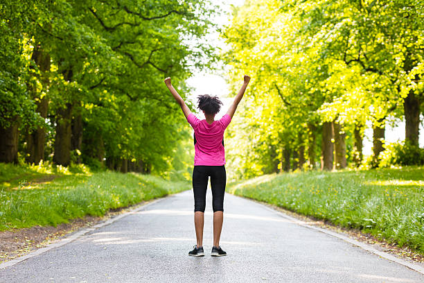 Young Woman Teenager Fitness Running Celebrating - foto de stock