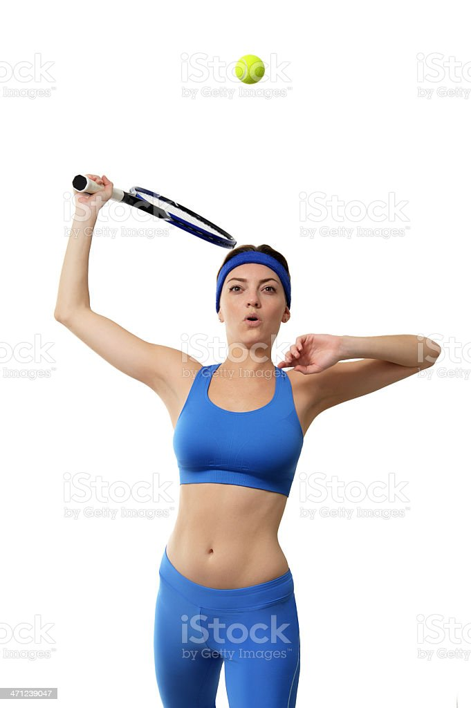 Young Woman Tennis Player Serving Isolated on White Background royalty-free stock photo